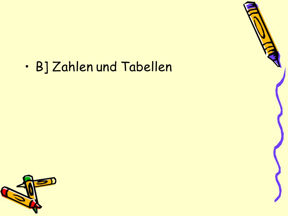 B] Zahlen und Tabellen